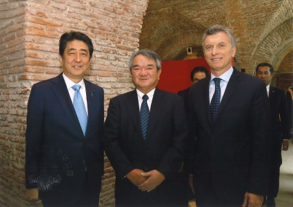 From left ; Mr. Abe (Prime Minister of Japan), Mr. Nakamura, and Mr. Macri (President of Argentina)